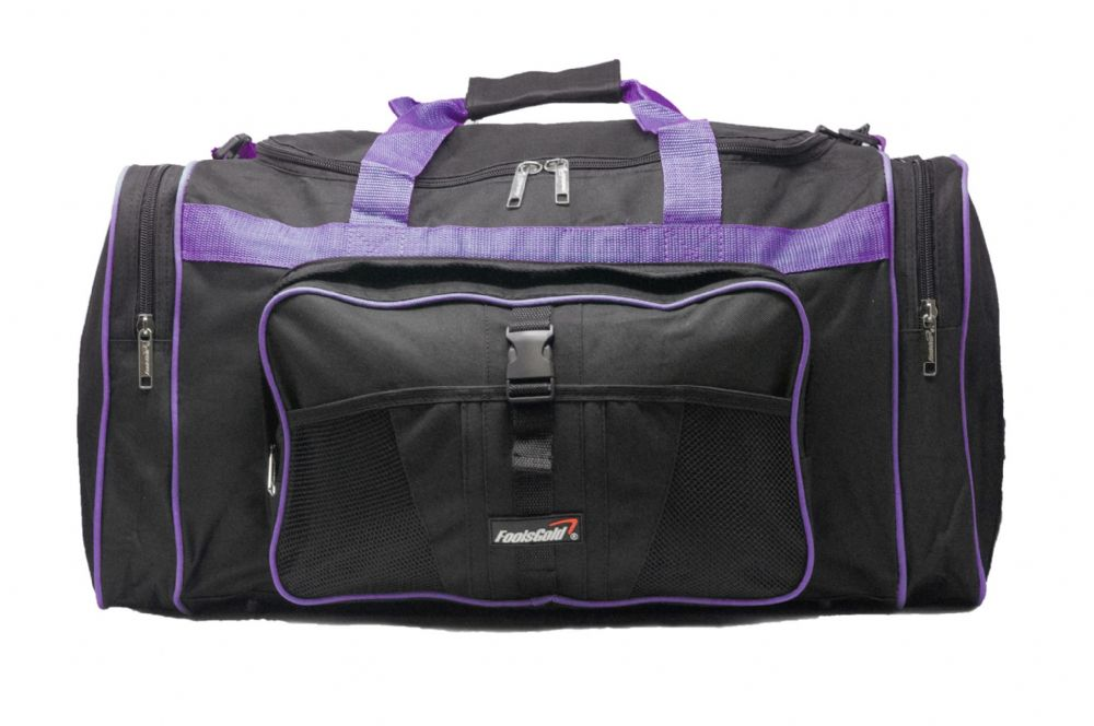 Large 50L foolsGold® Sports Holdall Bag - Black/Purple (1)